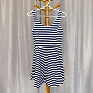 H&M Navy & White Striped Casual A-Line Dress